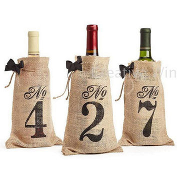 Hessian  Burlap Table Number 1-10 Black Ribbon Bow Tie  Wine Bottle Bags Baby Shower Wedding party  Favor Holders