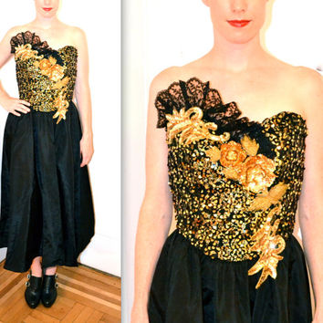 Vintage Black and Gold Sequin 80s Prom Dress Size Small Medium// Vintage Gold and Black Sequin Dress