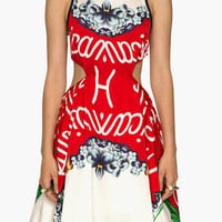White and Red Floral Print with Side Cut-Out Pleated Skater Dress