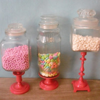 Upcycled Hot PINK Wedding Candy buffet jars  by MamaLisasCottage