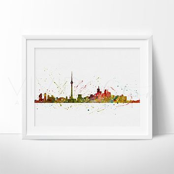 Toronto, Canada Skyline 2 Watercolor Art Print