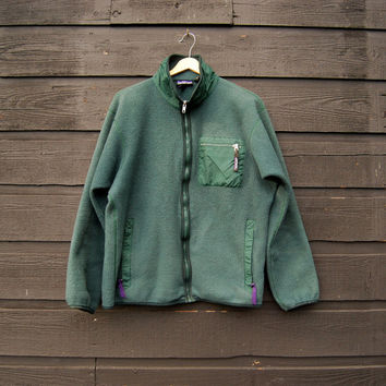 80s 90s PATAGONIA Jacket, Green Fleece Zip Up Jacket, Made in Usa Patagonia Fleece Jacket, Camping Gear, Mens MEDIUM - LARGE, Outdoors