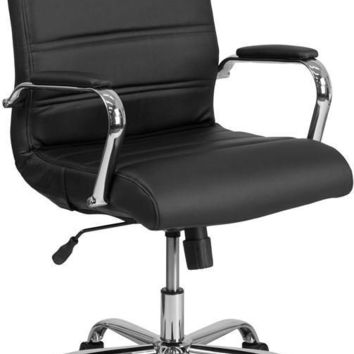 Mid-Back Leather Executive Swivel Office Chair with Chrome Arms