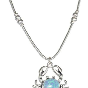 """Sterling Silver 16"""" Liquid Silver Synthetic Blue Opal Crab Necklace"""