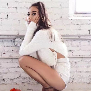 Fashion Solid Color Female Side Drawstring Hollow Round Neck Long Sleeve Short Sweater Crop Top