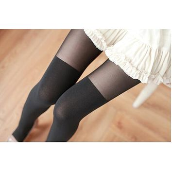 Sexy Patchwork High Stocking Mock Thigh Over The Knee Ribbed Pantyhose Tight