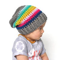 Rainbow and Grey Crochet Slouch Baby Beanie Any Size 0-8 Years Fitted or Slouchy style