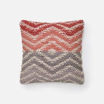 Loloi Coral / Grey Decorative Throw Pillow (P0184)