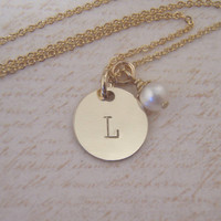 Gold Initial necklace - Birthstone necklace - Dainty Gold fill intial necklace with tiny birthstone dangle