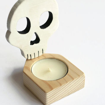 Halloween Candle Holder, Halloween Skull Candle Holder, Wooden Nightlight, Spooky White Halloween Decor