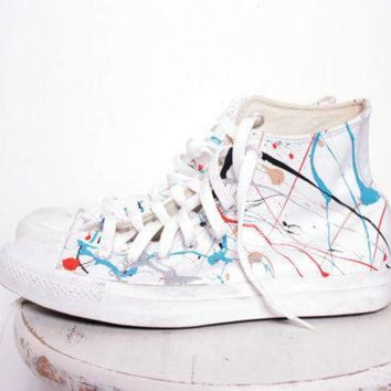 DCKL9 Custom Made Splatter Painted Vintage White Leather HighTop Converse Sneakers Size 7