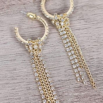 Rhinestone Hoop Tassel Drop Earrings