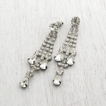 Vintage Rhinestone Chandelier Post Back Earrings -  Silver Tone Faux Diamond Pierced Bridal Jewelry - Elegant Dangle