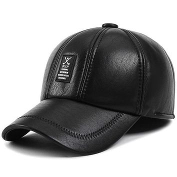 High quality 2017 new baseball cap Men winter Caps Father dad Hats Thicken warm earmuffs PU Leather snapback hat