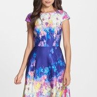 Women's Adrianna Papell Floral Print Scuba Fit & Flare Dress