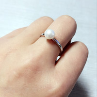 Fresh Water Pearl Sterling Silver Open Ring, adjustable / open ring. statement ring. wedding, bridal, bridesmaid, July birthday gift