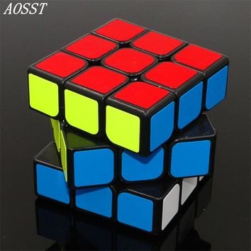(AOSST)3x3x3 Fluorescent sticker Cube Professional Black& white Cubo Cast Coated Puzzle Speed Twist learning & Eeducation Toys