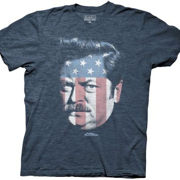 Parks and Rec Ron Swanson Stars & Stripes T-Shirt, Navy, X-Large
