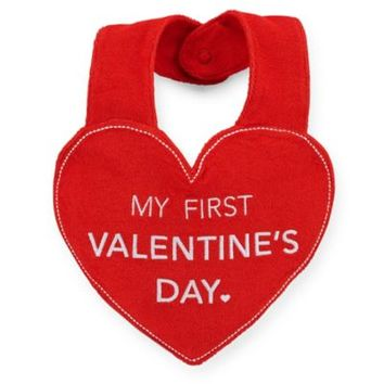 "Carter's® ""My First Valentine's Day"" Heart Bib in Red/White"