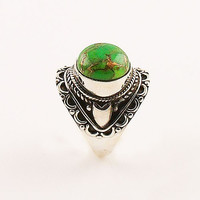 Green Copper Turquoise Sterling Silver Artisan Ring - keja jewelry