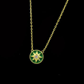 BeadyBoutique Lucky Star Jewelry Collection Necklace - Green