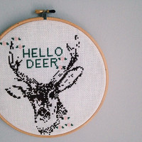 Deer Wall Decor Stitched Embroidery Cross Stitch Hello Deer & Flowers Wall Art