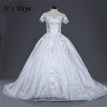 New Boat Neck Short Sleeves Trailing Wedding Frocks White Quality Train Wedding Dresses Bride Gowns Vestidos De Novia IY035