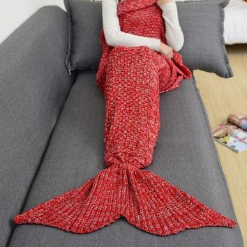 ONETOW Winter Spring Warm Handmade Knitted Mermaid Sofa Blanket Home Baby Children Adult Red Tagre?