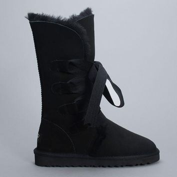 ESBON UGG 1005818 Tall Lace-Up Women Fashion Casual Wool Winter Snow Boots Black