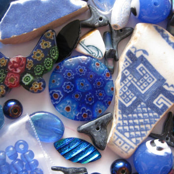 Dark Blue White Mix Beads Beach Pottery Brooch Over 150 Pcs Arts Crafts Mosaics Jewelry Making Upcycle Surf Tumbled Glass Acrylic Ceramic