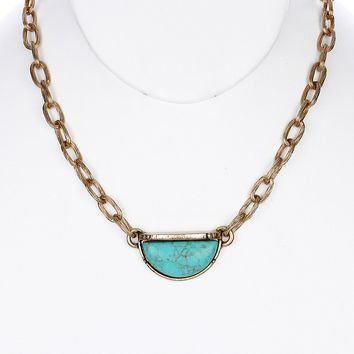 Turquoise Natural Stone Finish Half Moon Necklace