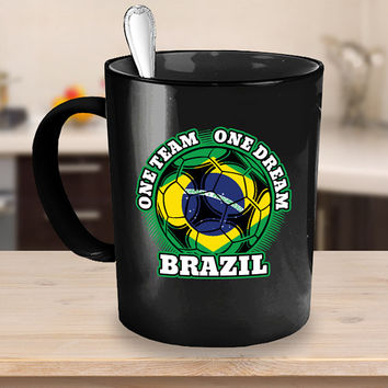 Brazil Soccer Coffee Mug 11 or 15oz White or Black Ceramic Cup, Soccer Gift, Brazil Flag, Soccer Gift Idea, Gift for Soccer Player