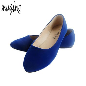 Muqing Womens Pointed Toe Ballets Flats Spring Autumn Fashion Shoes Loafers Slip On Casual Shoes Suede PU Leather O058