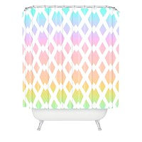 Lisa Argyropoulos Daffy Lattice Pastel Rainbow Shower Curtain