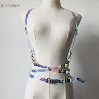 Sexy Punk Women Men Holographic Vinyl PVC Body Harness Hologram Rainbow Bonage Top Caged Leather Belt Waist Straps