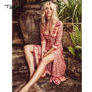 TEELYNN long Boho dress rayon Floral print sexy V-Neck Hippie summer Dresses chic beach women Dress Bohemia wrap dresses