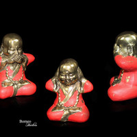 "Wise Little Buddha 3.1-3.2""Buddha Figurines(set of 3)In Pinkish Red Cloak,Meditation,Positive Energy,Good Vibes/Buddhism Mind,Speech,Action"