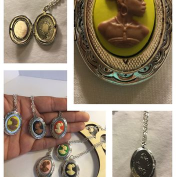 Yellow Vintage Cameo locket/Free Shipping
