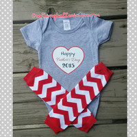 Father's Day Baby Girl or Boy Outfit - Gray Red - Chevron - Heart - I love Daddy - First Father's day - Leg Warmers - Set - Headband - Photo