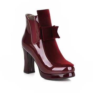 Patent Leather Ankle Boots Square High Heels