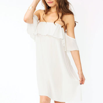 Ruffled White Dress