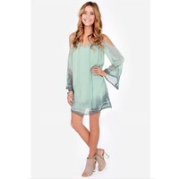 Flymall Womens Summer Open Shoulder Chiffon Shift Dress