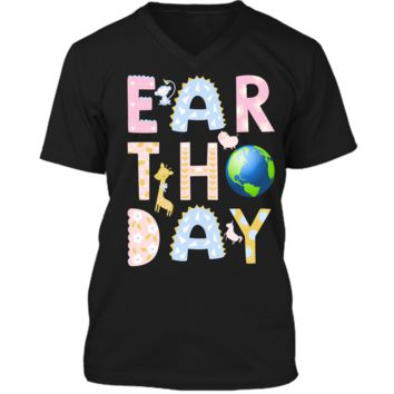 Monkey Giraffe Pig Unicorn Earth Day Shirt For Kids Mens Printed V-Neck T