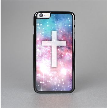 The Vector White Cross v2 over Colorful Neon Space Nebula Skin-Sert for the Apple iPhone 6 Skin-Sert Case
