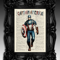 "Captain America- Original illustration super hero art print 8""x11""- antique dictionary page - Vintage marvel art print poster."
