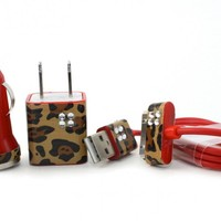Red iPhone Charger Set - with Wild Cheetah Print Trim