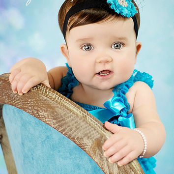 Valentines Day Outfit Peacock Feather Lace Petti Romper SET-Girl Baby-Preemie-Newborn-Infant-Child-Toddler-Blue Green Black-Birthday-Vintage