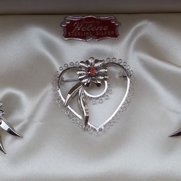 NIB Jewels by Helen Star art sterling silver flower in heart AB Aurora Borealis demi parure brooch and earrings signed vintage set mid century