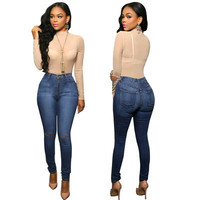 Women's high Waisted solid color Jeans denims a13533