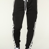 Post Cargo Track Pants - Black/White